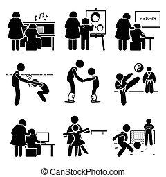 レッスン, 子供, 勉強, pictogram