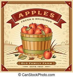レトロ, 収穫, アップル, 風景, ラベル