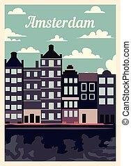 レトロ, 型, illustration., ベクトル, ポスター, 都市, アムステルダム, スカイライン