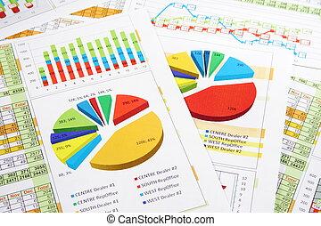 レポート, グラフ, ディジット, 販売チャート