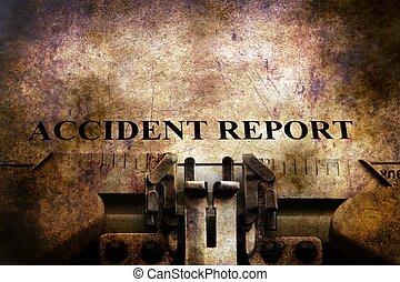レポート, テキスト, 事故, タイプライター, 型