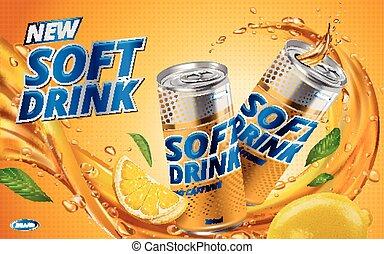 レモン飲み物, 柔らかい, 新しい