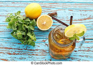 レモン, 生活, 気分転換, 新たに, ミント, 夏, お茶, まだ, 飲みなさい