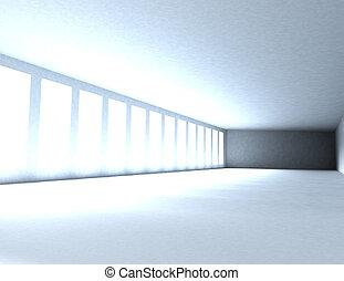 レンダリングした, 部屋, ライト, 抽象的, イラスト, 窓, 3d