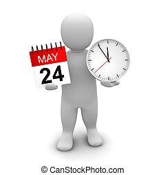 レンダリングした, illustration., 時計, calendar., 保有物, 3d, 人