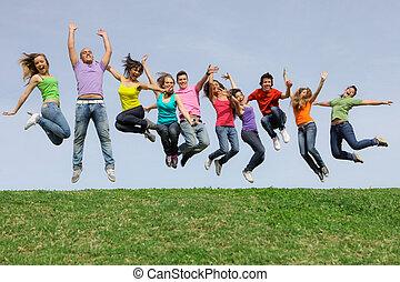 レース, グループ, 跳躍, 多様, 混ぜられた, 幸せに微笑する