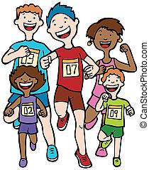 レース, マラソン, 子供