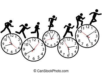 レース, 操業, 人々, シンボル, clocks, 時間