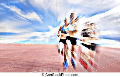 レース, 運動選手, 若い, 女性, 競争