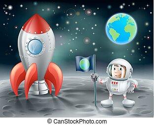 ロケット, スペース, 型, 月, 宇宙飛行士, 漫画