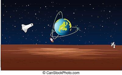 ロケット, satelite, 光景