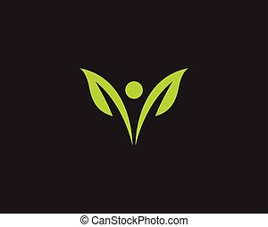 ロゴ, エコロジー, 葉, 自然, 要素, ベクトル, 緑, アイコン