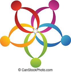ロゴ, サポート, 花, チームワーク