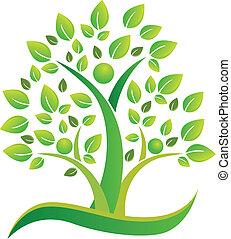 ロゴ, シンボル, チームワーク, 木, 人々