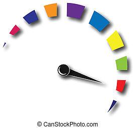 ロゴ, スピード, カラフルである, 走行距離計
