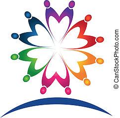 ロゴ, チームワーク, 人々, ベクトル