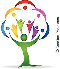 ロゴ, チームワーク, 人々, 木