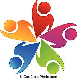 ロゴ, チームワーク, 労働者, 楽天的である