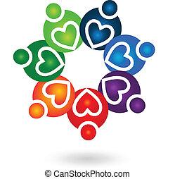 ロゴ, チームワーク, 団結, 人々