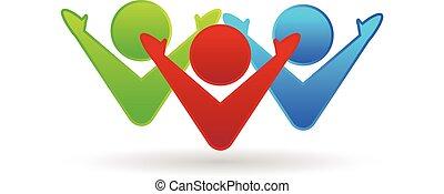 ロゴ, チームワーク, 幸せ, 協力