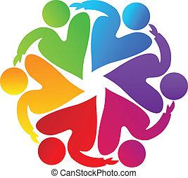 ロゴ, チームワーク, 慈善, 人々