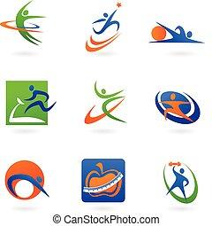 ロゴ, フィットネス, カラフルである, アイコン