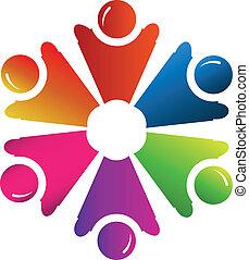 ロゴ, ベクトル, グループ, 人々, チームワーク