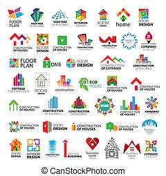ロゴ, ベクトル, コレクション, 改善, 建設, 家