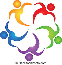 ロゴ, ベクトル, チームワーク, ヘルパー