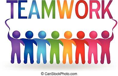 ロゴ, ベクトル, チームワーク, 人々, パートナー