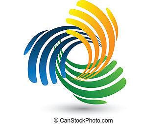 ロゴ, ベクトル, 接続, 手