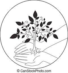 ロゴ, ベクトル, 木, 紋章, アイコン