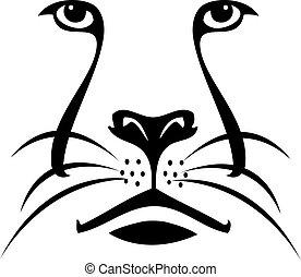 ロゴ, ライオン, シルエット, 顔