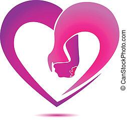 ロゴ, 中心の 形, 手を持つ
