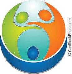 ロゴ, 人々, チームワーク, のまわり, 世界
