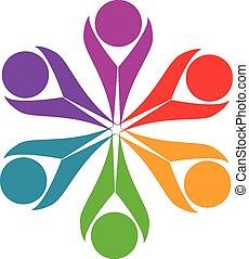 ロゴ, 人々, 友情, チームワーク