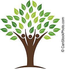 ロゴ, 人々, 木, グループ