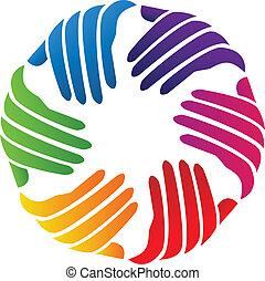 ロゴ, 会社, ベクトル, 手, 慈善