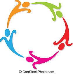 ロゴ, 円, チームワーク, のまわり