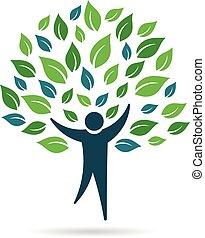 ロゴ, 単一, 木, 人々