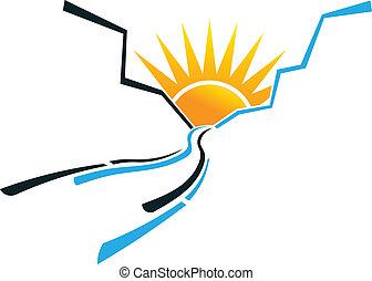 ロゴ, 太陽, イメージ, 峡谷, 道
