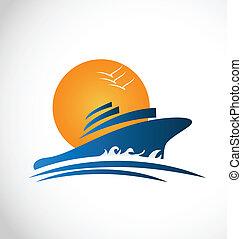ロゴ, 太陽, 船, 波, 巡航