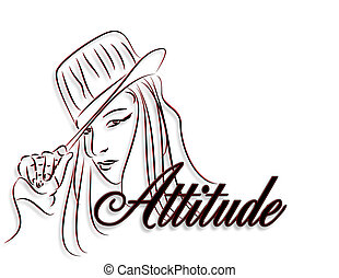 ロゴ, 女の子, 態度