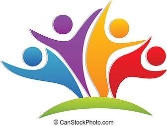 ロゴ, 幸せ, チームワーク, パートナー