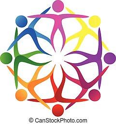 ロゴ, 形, 花, チームワーク, 人々