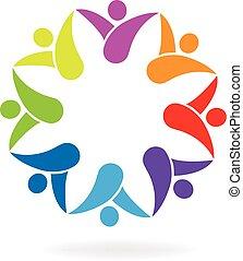ロゴ, 形, 花, チームワーク