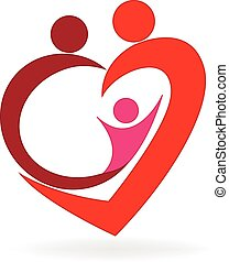 ロゴ, 心, 愛, 家族