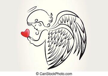 ロゴ, 愛, アイコン, 心, 祈ること, クリスマス, 天使