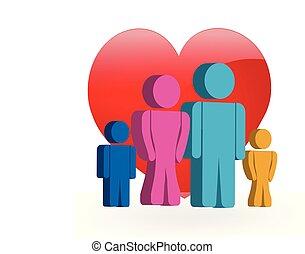 ロゴ, 愛, 家族, 3d