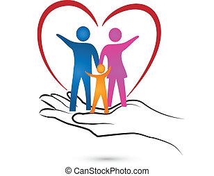 ロゴ, 手, 心, 家族